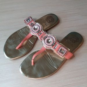 Orange and Gold Vince Camuto Bling Sandals 7.5